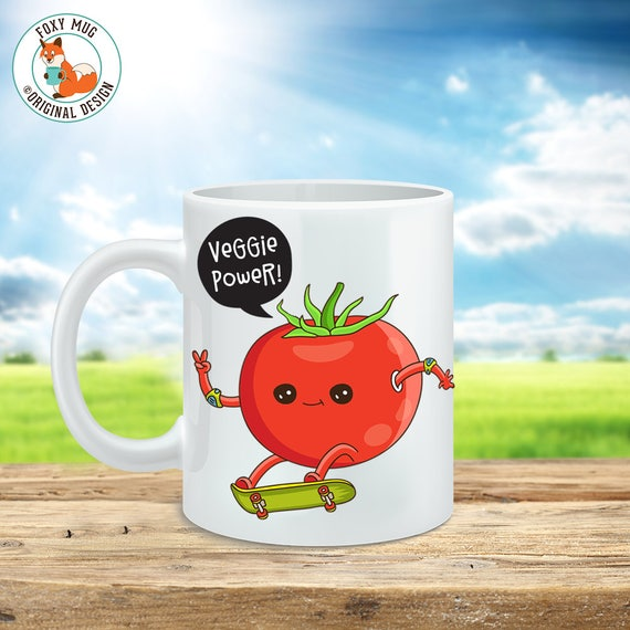 Coffee Mug Veggie Power Coffee Cup - Veggie Power Great Funny Mug Gift for Vegan or Vegetarian