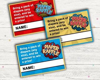 Superhero Diaper Raffle Tickets Printable, (Baby Shower)
