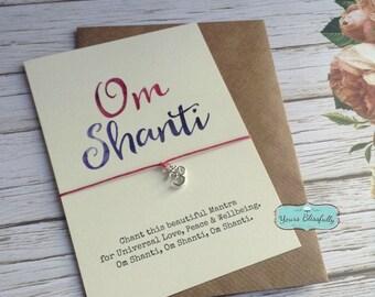Om Shanti Yoga Bracelet, Om Shanti Friendship Bracelet, Mantra Bracelet, Yoga Chant bracelet, Yoga Om Shanti Card, Yoga Gift, Om