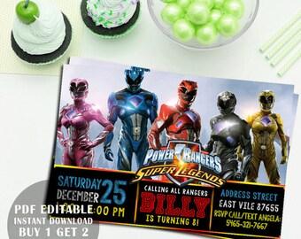 Power Ranger Invitation, Power Ranger Birthday Invitation, Power Ranger Party, Power Ranger Party, Power Ranger Pdf editable invitation