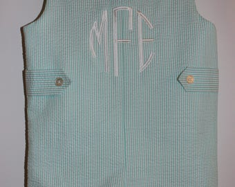 Infant and Toddler Jon Jon with Side Tabs and Monogram