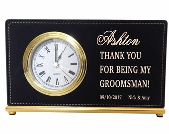 Gifts for Groomsmen - Groomsman Gift - Personalized Best Man Gift - Wedding Party Gifts -Desk Clock, LCG004