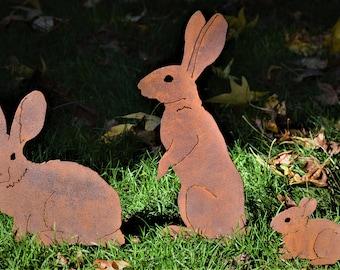 Mama Bunny Stake | Garden Stake | Easter Bunny Decor | Metal Yard Art | Rabbit Decor | White Rabbit | Indoor Garden Gift | Garden Gift P432