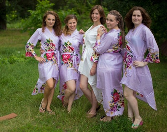 High Low Style One Long flower Robes | Kimono Style getting ready robe, bridal shower gift, dressing gown, Bridesmaids Robes