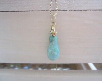 Jadeite Pendant, Gold look vintage jadeite drop pendant