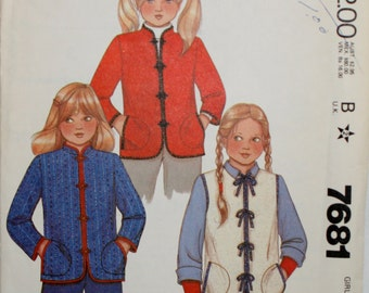 McCall's 7681 Girls' Jacket and Vest Sewing Pattern New / Uncut Size 7,8,10,12,14