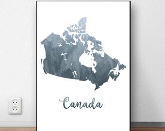 Canada Map Print, Canada Wall Art, Canada Poster, Grey Watercolor Map, Canada Print, Canadian Decor, Instant Download, Canada Printable Art
