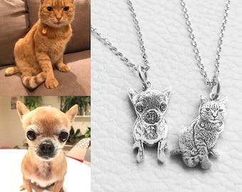 Dog Custom Portrait Necklace  925 Sterling Silver Pet Personalized Pendant