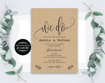 We Do Wedding Invitation Template, Invitation Template, Wedding Template, Microsoft Word Format (docx), Instant Download, Editable,