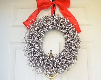 White berry wreath - Christmas wreath - Holiday front door decor - red bow