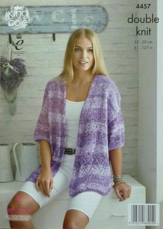 Womens Knitting Pattern K4457 Ladies Short Drop Sleeve V Neck