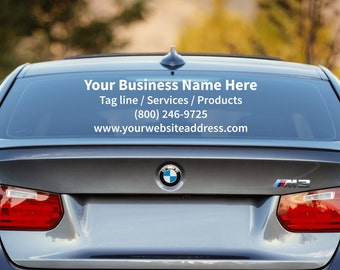 Business Car Decal, Custom Car Window Decal, Personalized Business Decal, Business Decal, Advertise Your Business, Car Decal, Window Decal