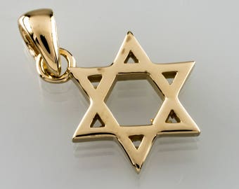 14k Yellow Gold Star of David Pendant Judaica Gorgeous Gift!