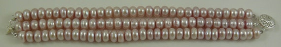Freshwater Pink Rondel Pearl Triple Strand Bracelet with Sterling Silver Clasp