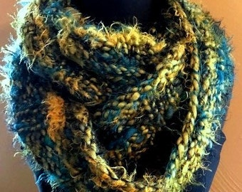 cowl, hooded cowl, infinity scarf, moebus scarf - hand knit, handmade,  blue, green and gold