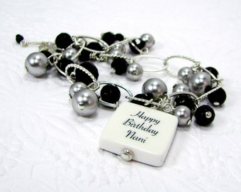 Charm Bracelet with Black Onyx, Pearls and a Photo Charm - Small - P3B6a
