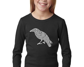 Girl's Long Sleeve T-Shirt - Created Using the First Few Lines from Edgar Allen Poe's The Raven