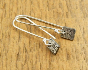Minimalist earrings, sterling silver square earrings, oxidized sterling silver earrings for everyday, rectangle earrings, ready to ship.