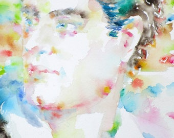 LORD BYRON  - original watercolor portrait - one of a kind!