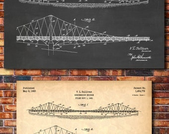 Suspension Bridge Patent Print Art 1923