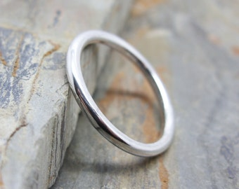 Simple Full Round Band in Sterling Silver - Wedding Band or Thick Stacking Ring in Matte / Brushed, Hammered, or Polished 2mm Halo Ring