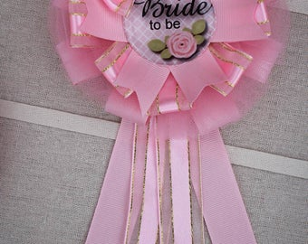Bridal Shower Cosage, Bride to Be Corsage, Bride to Be Pin, Pink Bridal Shower, Bridal Shower Corsage, Ribbon Corsages, Pink Shower Theme