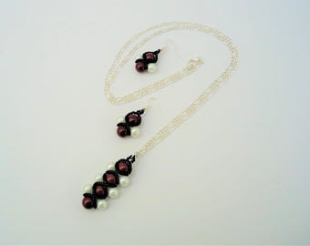 Red  Faux Pearl Embellished Pendant and Earrings Set, Bold Contemporary