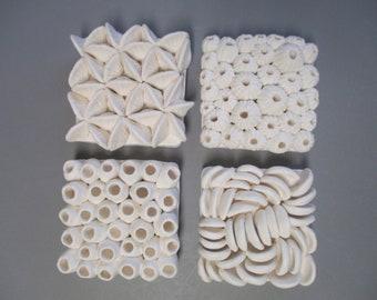 "Four piece 4"" art tile set - ceramic coral reef - bathroom art, ceramic wall art,  ocean art, beach art, sea side, sea shells, anemone, reef"