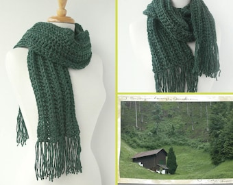 Dark Green Winter Scarf - Gift for Dad - Boyfriend Scarf - Men's Scarves