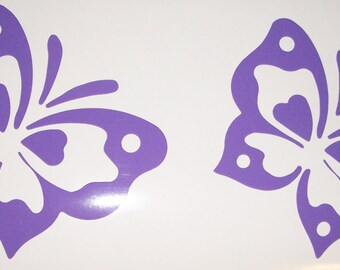 """Set of 4, 5"""" Lavender Butterfly Vinyl Decals, Butterfly Wall Decals"""