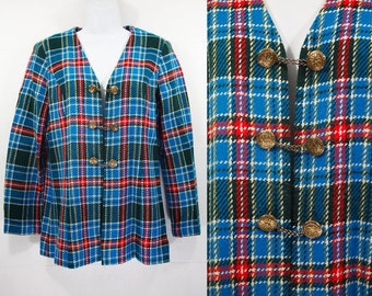 10 Dollar Sale---Vintage 60's Tweed Plaid Blazer Jacket w/ Gold Chained Buttons M/L
