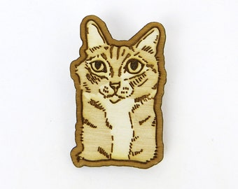 Funny cat brooch, shelter cat pin, rescue cat gift, feral cat pin, cat valentine gift, animal lover gift, birch wood, laser cut pin