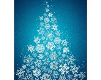 """Tree Snowflakes Supernova Turquoise Digital Hoffman Fabric 44"""" Panel"""