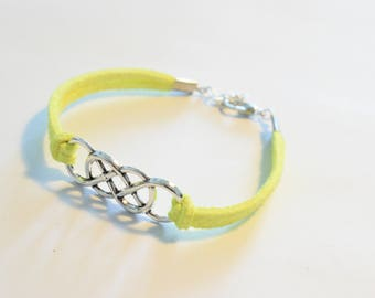 Faux Suede, double infinity bracelet, friendship bracelet