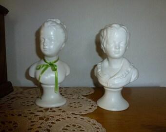 Vintage Napcoware Bust of Victorian Girl and Boy Brongniart Children Matte White