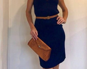 Super Simple Smart Stylish 60s-70s Thin Knit Navy Blue Dress with Matching Buttons & Chunky Back Zip