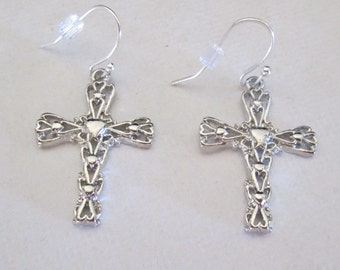Decorative Metal Cross, Pierced Earrings