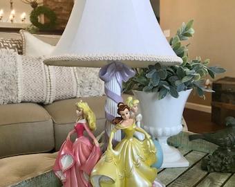 Disney Princess Table Lamp Belle Aurora Cinderella Dancing Maypole Nursery Heart with Shade TYCAALAK