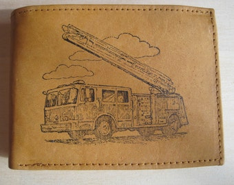 """Mankind Wallets Men's Leather RFID Blocking Billfold w/ """"Firefighter's Fire Truck"""" Image~Makes a Great Gift!"""