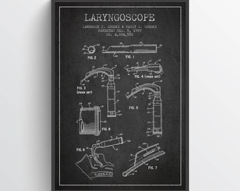 1964 Laryngoscope Art Print, Medical Patent, Laryngoscope print, Laryngoscope Poster, Wall Art, Home Decor, Gift Idea, ME11P