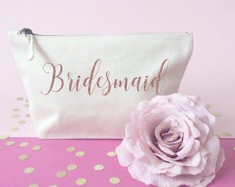 Bridesmaid makeup bag- Cosmetic bag- Bridesmaid gift- Toiletry bag- large cosmetic bag- Personalised bag- Be my bridesmaid- Maid of honour