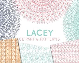 Large Vintage Lace Doilies Clipart, Lace Border Clip Art, Vector Clipart , Mint & Pink Lace Vintage Doily, Lace Clipart, Lace Digital Paper
