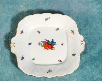 RARE ANTUQUE 1915 Herend Porcelain Hungary Square Tray UNUSUAL