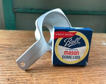 Vintage Ball Mason Jar Lids In Original Box And Foley Aluminum Canning Funnel - Vintage Canning Decor, Farmhouse Kitchen Decor