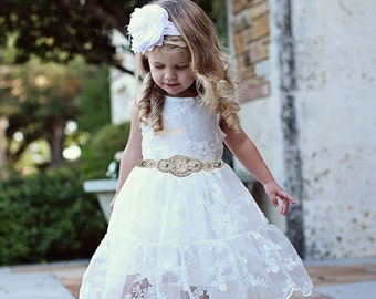 Rustic Flower Girl Dress, Rustic Flower Girl Dress, White Lace Dress, Rustic Lace Flower Girl Dress, Lace Rustic Dress, White Baptism Dress