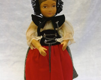 """12"""" Brienz Swiss Handcarved Wooden Doll ~ A Vintage Doll With Intricate Braided Hair ~ Bern Canton, Switzerland"""