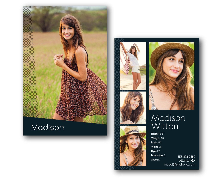 customizable digital model comp card zed card geometric