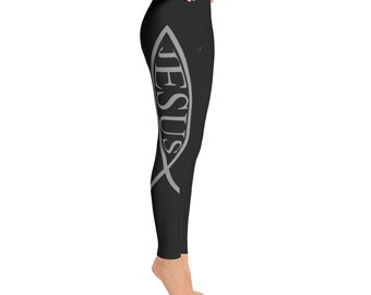 Jesus Fish, Fish Symbol, Christian, Jesus, Yoga Pants, Tights, Full Length Leggings