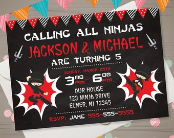 NINJA Birthday Invitation Ninja Invitation Twins Invitation Siblings Invite Ninja Twins Birthday Party Karate Party Taekwondo Birthday Party