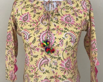 Cotton elegant yellow and pink top with hand block print, XS, Small and Medium *FREE SHIPPING